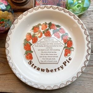 Vintage Stoneware Strawberry Pie Dish
